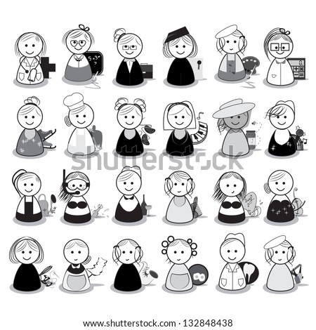 People With Different Occupation - Set - Isolated On White Background - Vector Illustration, Graphic Design Editable For Your Design, Logo