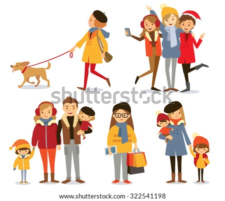 people with family and kids at the winter style - stock vector