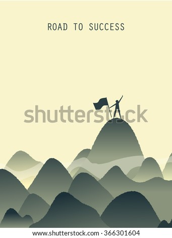 People with flag on the mountain,Success symbol illustration. - stock vector