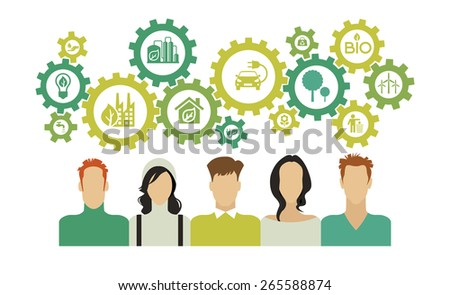 people with gears over their heads and ecology icons. Eco background infographic. Eco concept. Concepts web banner and printed materials. - stock vector