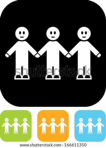 People with hands joined together vector icon isolated  - stock vector