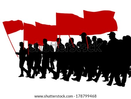 People with large flags on street - stock vector