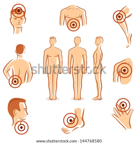 People with pain dots collection. Vector - stock vector