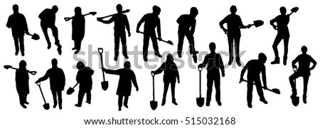 People with shovel silhouettes