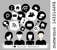 people with social network speech bubbles - stock vector