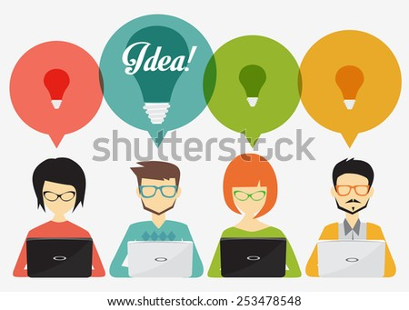 people with speech bubbles and laptop,social network, idea, teamwork, banner and infographic  concept - stock vector