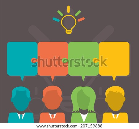 People with speech bubbles - Teamwork solving a problem. EPS 10 - stock vector