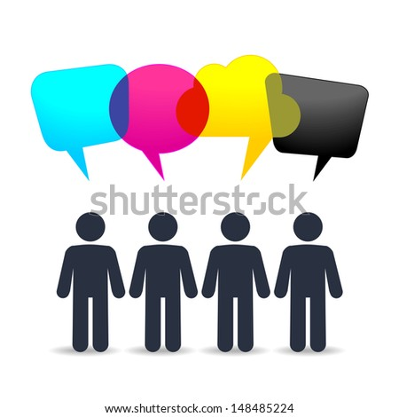 People with speech clouds. Four color ink for printing - stock vector