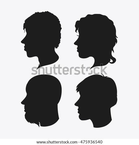 3 profile silhouettes women silhouettes beauty stock