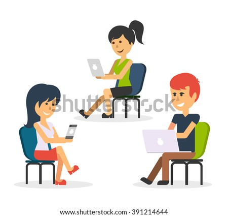 People work in office design flat. Business woman and man, computer worker, Office desk table and workplace. Guy girl sitting on chair at table in front of computer laptop monitor - stock vector