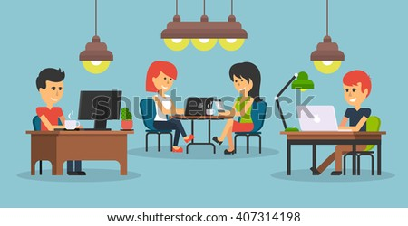 People work in office design flat. Business woman and man, computer worker, Office desk table and workplace. Guy girl sitting on chair at table in front of computer laptop monitor and shining lamp - stock vector