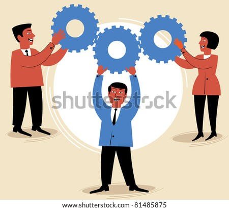 people work in the team.figure business concept - stock vector