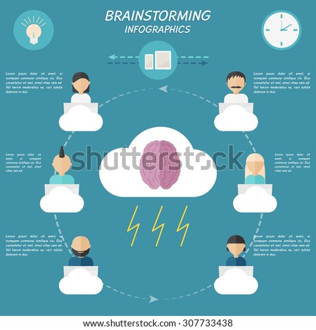 People work on idea. Brainstorming infographics elements in modern flat style. - stock vector