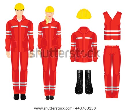 People worker in professional wear, shoes and yellow safety helmet on white background - stock vector