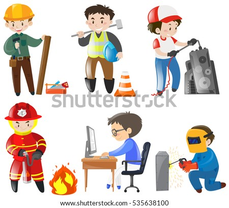 Stock Vector People Working Different Jobs Illustration Worker Man Careers Team