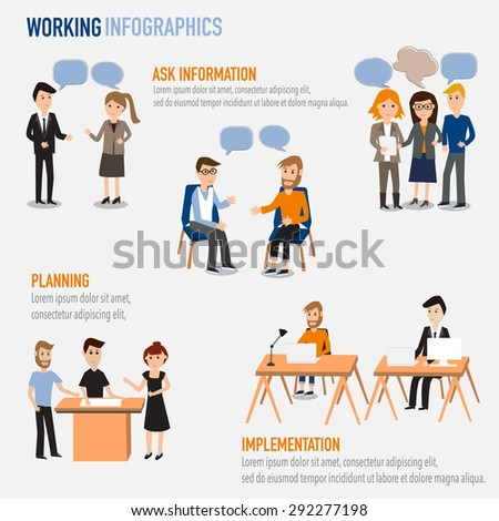 People working in the co-working space infographics elements.illustrator EPS10. Ask information,Planning,Implementation  - stock vector