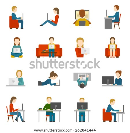 People working on computer and home and in office flat icons isolated vector illustration - stock vector