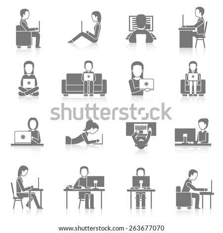 People working on computer sitting and laying black icons set isolated vector illustration - stock vector
