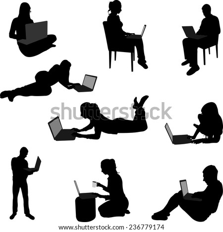 people working on their laptops silhouettes - stock vector