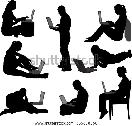people working on their laptops silhouettes - vector - stock vector