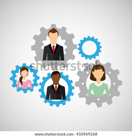 people working together networking and teamwork cooperation icon, vector illustration - stock vector