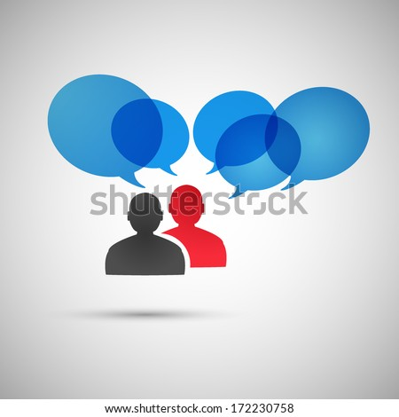 Peoples discussion icon. Vector eps10 - stock vector