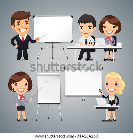Peoples Gives a Presentation or Seminar Set - stock vector