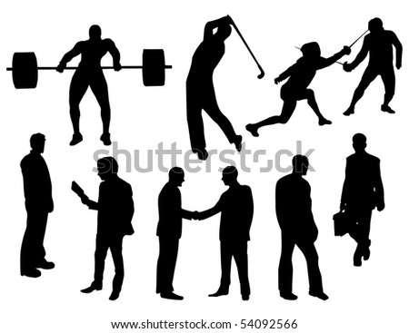 peoples silhouettes, vector - stock vector