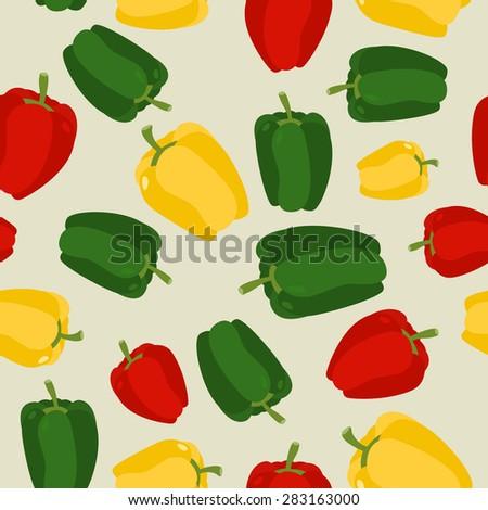 Pepper seamless pattern. Vegetable vector background ripe sweet pepper - stock vector