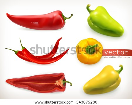 Pepper. Vegetable 3d vector icon set