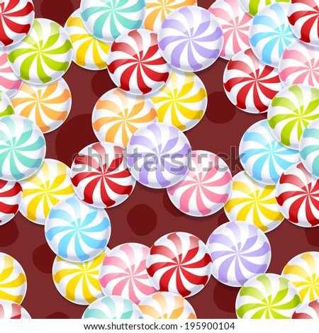 Peppermint candies seamless background. - stock vector