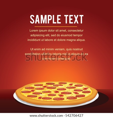 Pepperoni Pizza Background. Vector Menu