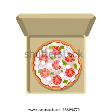Pepperoni pizza in cardboard box. Fast food meal. Pizza with cheese, tomatoes and more. Hot and fresh snack.