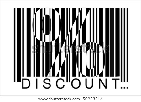 percent discount, bar code,  Isolated over background and groups, vector ILLUSTRATION