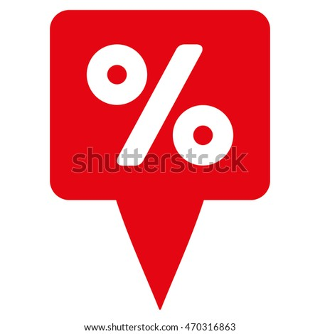 Percent Map Pointer icon. Vector style is flat iconic symbol with rounded angles, red color, white background.