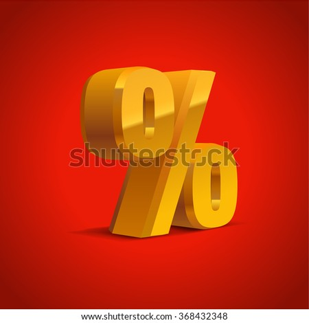 Percent off sign, golden or yellow sale background, object 3D. Eps10 Vector.