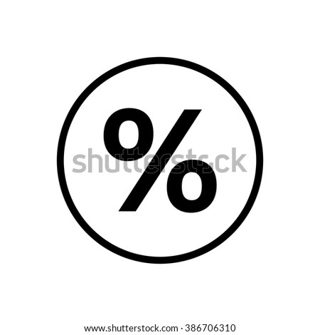 Percent sign in circle . Vector illustration