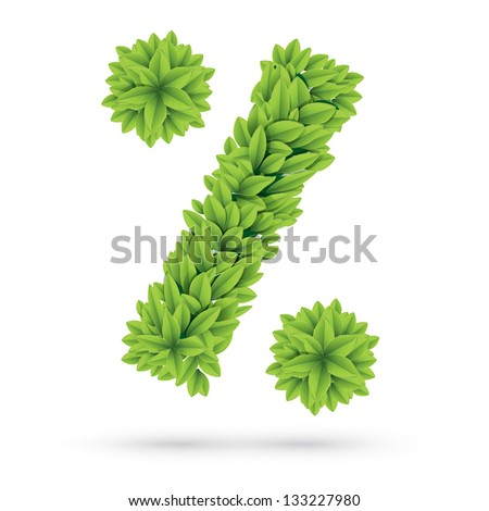 Percent sign made of green spring leafs - stock vector