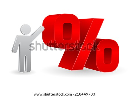 percent sign with person icon 3d design