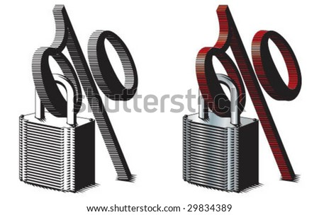 Percent symbol locked into padlock - stock vector