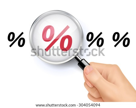 percent symbol showing through magnifying glass held by hand