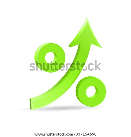 Percent up arrow icon, speedy economic growth concept, 3d vector on white background, eps 10 - stock vector