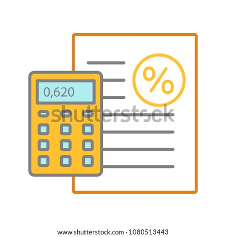 percentage calculator color icon interest rate stock vector royalty