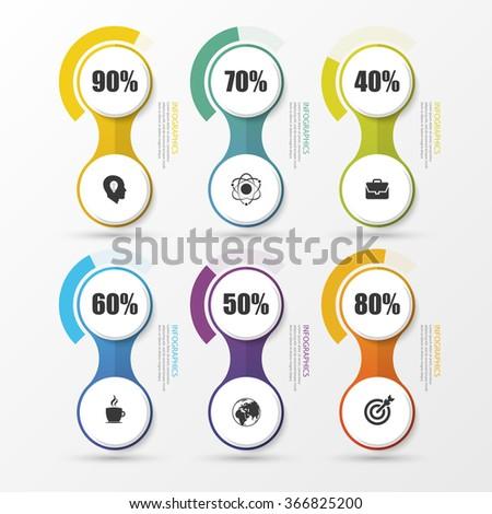 Percentage Diagram Presentation Design Elements. Infographics. Vector illustration - stock vector