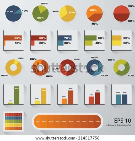 percentage graph icon set. - stock vector