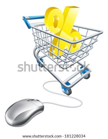Percentage sign in a shopping trolley with computer mouse connected to it. Concept for shopping for best percent rates on the internet for savings or credit card or just bargains - stock vector