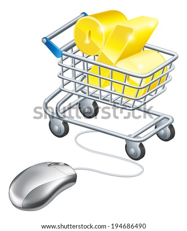 Percentage sign in a shopping trolley with computer mouse connected to it. Concept for shopping for best rates online for savings or credit card or similar - stock vector