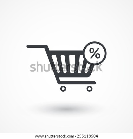 Percentage symbol in shopping cart icon - stock vector