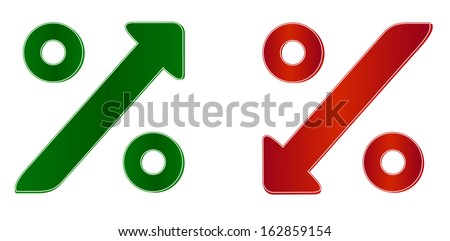 percentage symbol with up and down arrow - stock vector