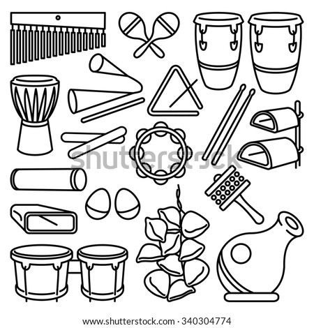 Percussion Instruments. Vector drawing of a set of Latin Music Percussion Instruments. Black lines on white background. Neat work, easily editable. - stock vector